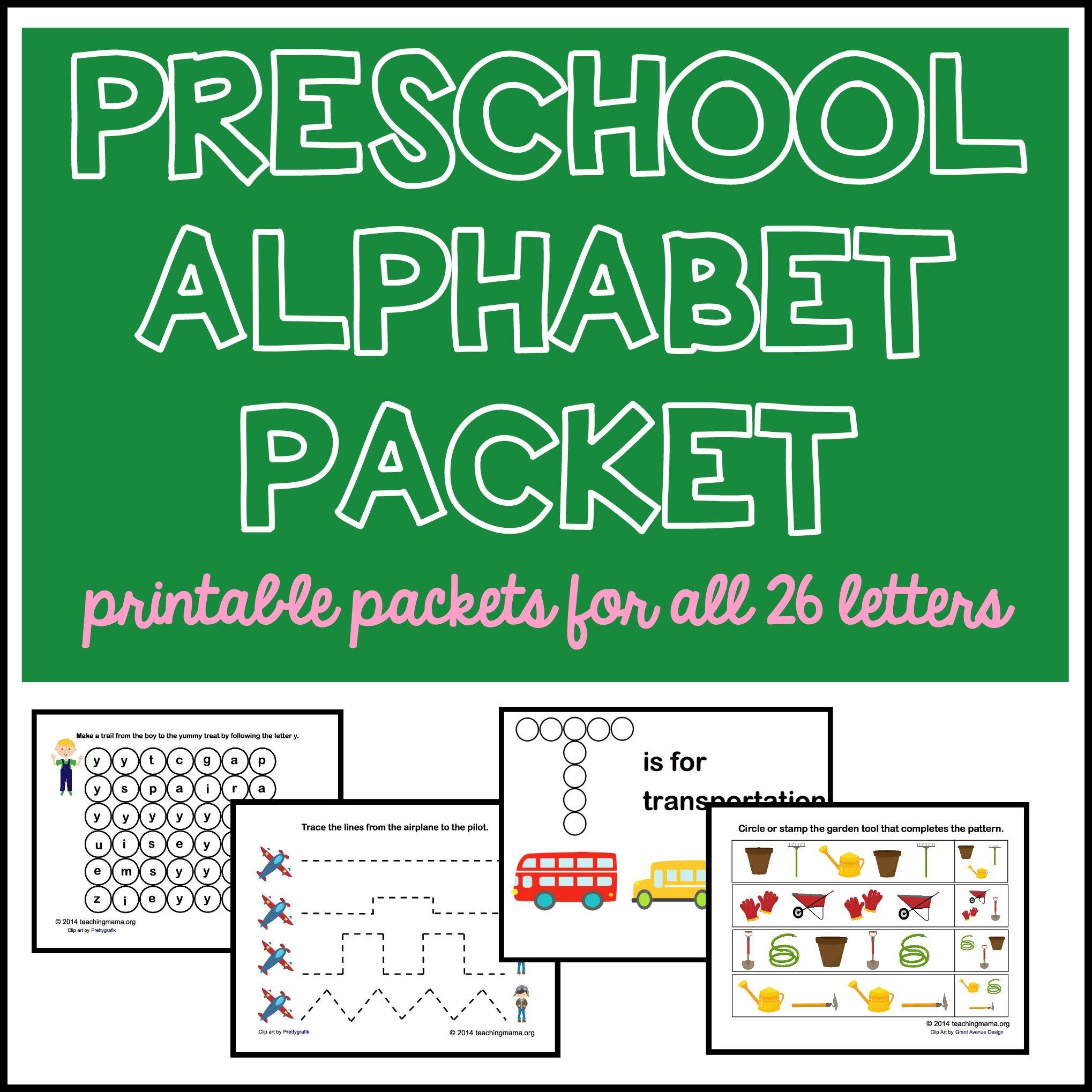 Preschool Alphabet Packet