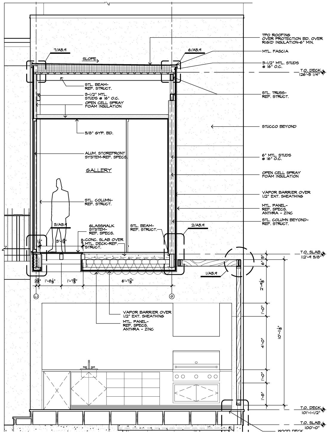 Bathroom section drawing - Bridge Wall Section
