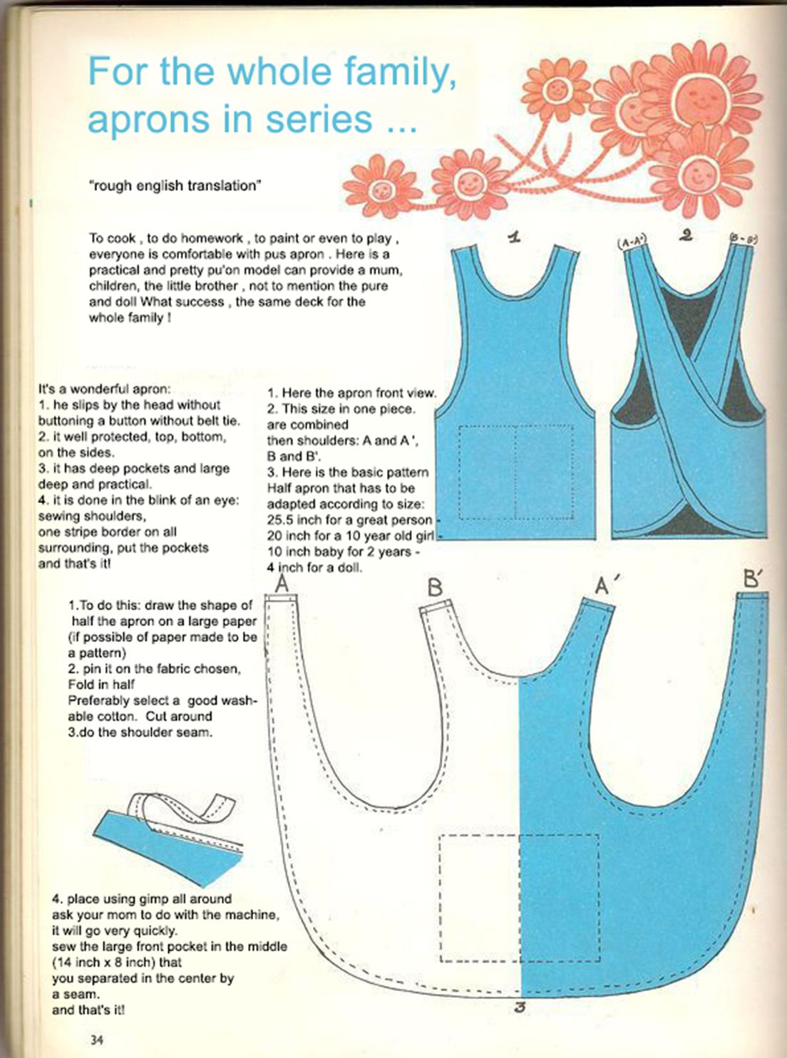 Cross back apron dress pattern roughly translated to English (in ...