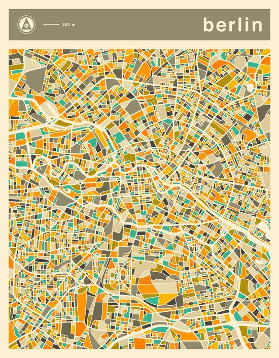 poster berlin map von jazzberry blue poster pinterest poster illustration und landkarte. Black Bedroom Furniture Sets. Home Design Ideas