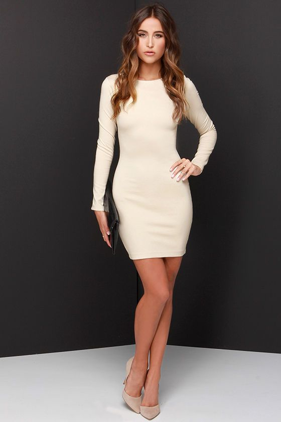 Holy Grail Beige Long Sleeve Dress at Lulus.com!   My style - haves ...