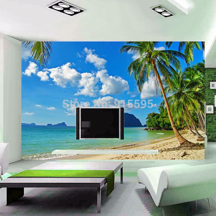 3D Wallpaper Bedroom Living Mural Roll Palm Beach Sea Scenery Wall  Background TV #Unbranded #