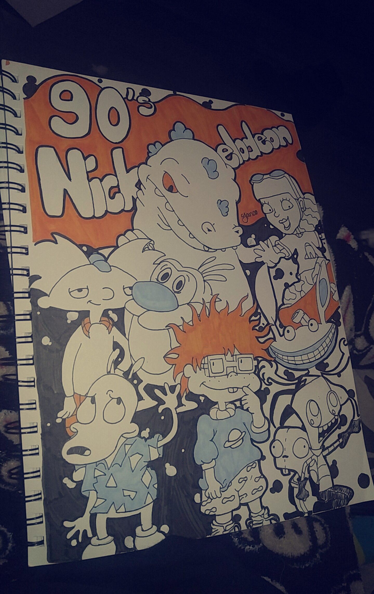 90s Nickelodeon colored drawing by Aiyana Carter  Pinterest