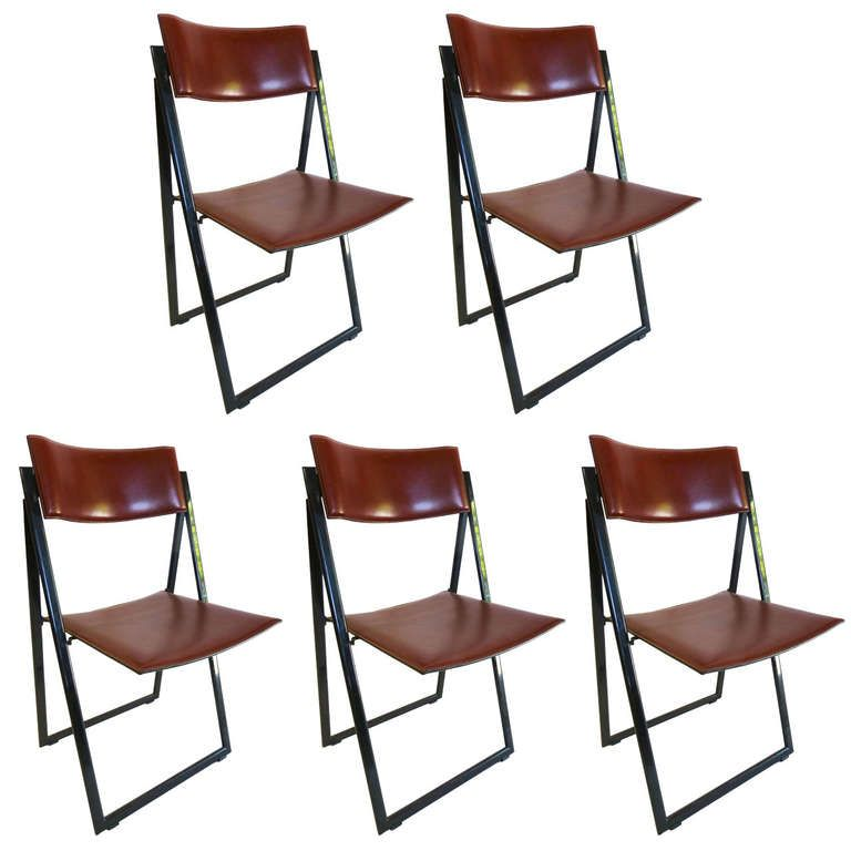 Exceptionnel Matteograssi Leather Folding Chairs, Set Of Five |