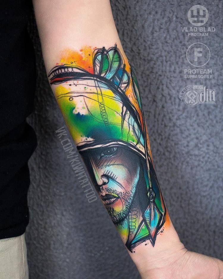 40 Graphic Watercolor Tattoos By Vika Kiwi Tattoos Graffiti