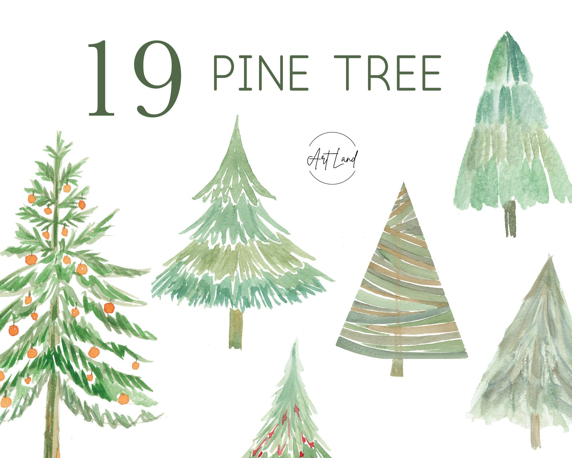 Watercolor Pine Tree Clipart Christmas Tree Clipart Etsy In 2020 Christmas Tree Clipart Watercolor Tree Tree Clipart