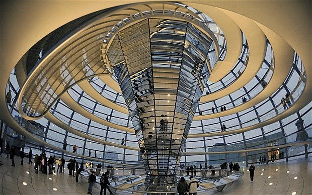 Inside the dome on top of the German Parliament, Berlin. It is open to visitors and the view is spectacular.