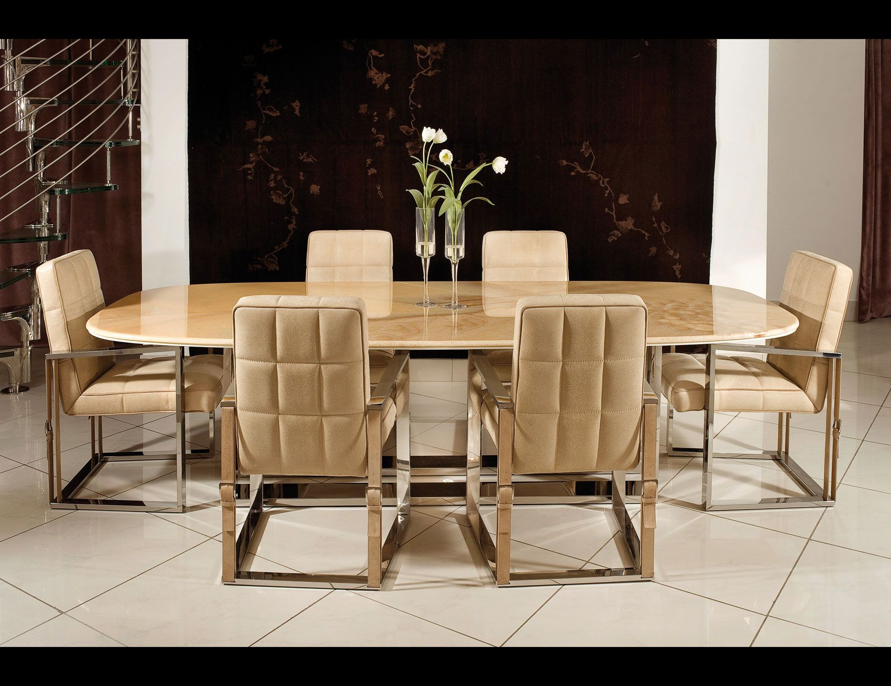 Voyager Luxury Italian Dining Table With Base Made Of Two Parallel Elements  In Shiny Stainless Steel And Top In Marble And Shiny Lacquered Shaped Wood.