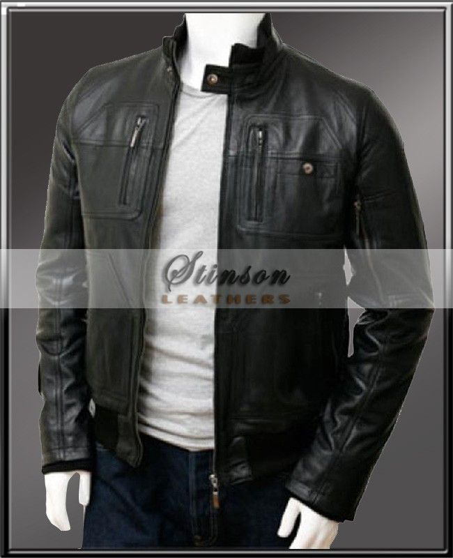 b502fe72694 Black Bomber Simple Men Leather Jacket from stinson leathers is classic and  clean simple bomber design. It s made with smooth sheep leather