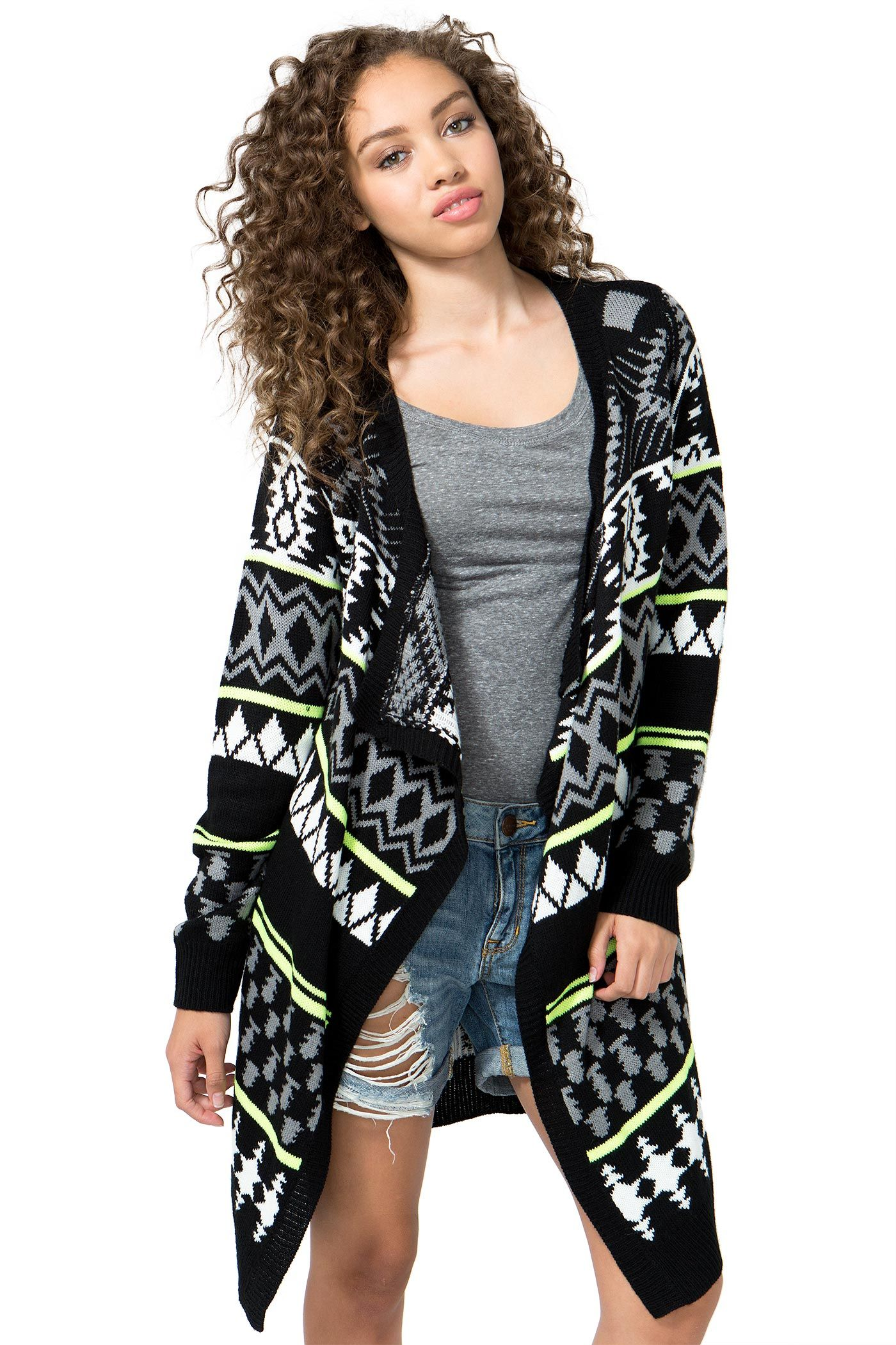 BOUTIQUE FIVE A knit open cardi, featuring a draped front, solid trim, and Nordic-inspired pattern throughout. Neon trim. Pointed longline hem. One size. $39.90