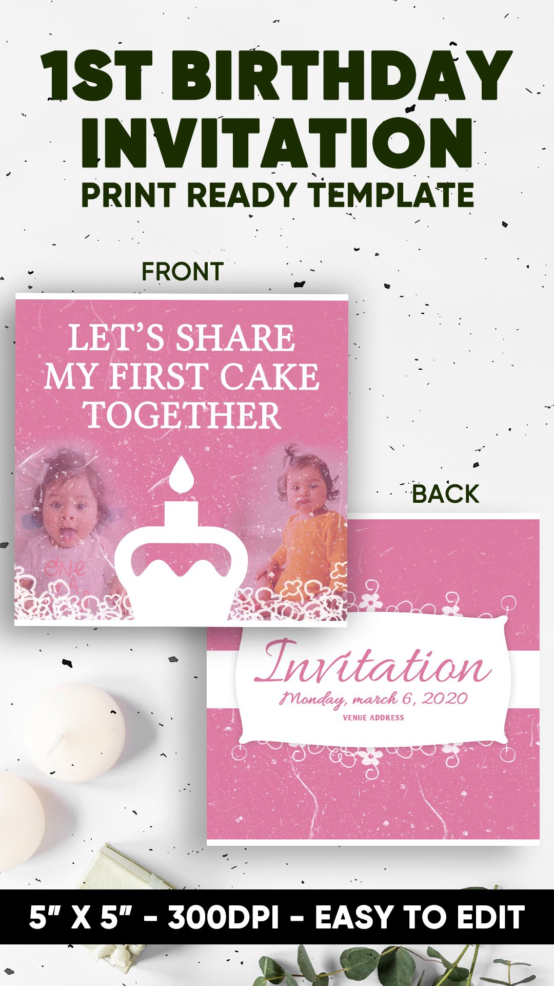 1st Birthday 5 X5 Invitation Template Card Instant Download Online Editing Print Ready 1st Birthday Invitations 1st Birthday Invitation Printing
