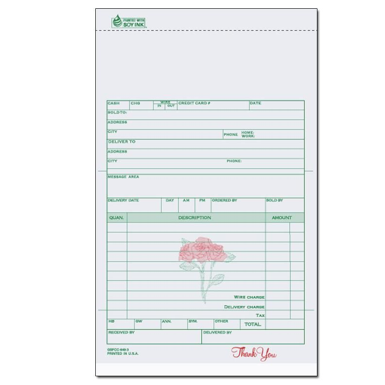 Florists \ Flower Shop Invoices - Receipts DesignsnPrint biil - product receipt template