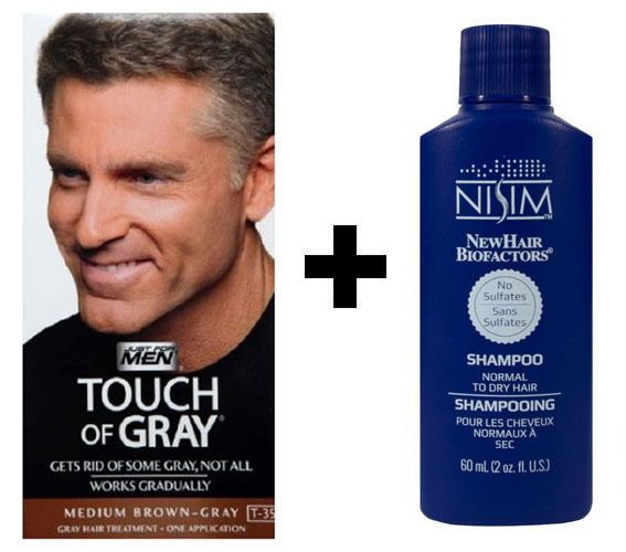 Just For Men Touch Of Grey Medium Brown Gray T35 Hair Colour Dye Nisim Shampoo