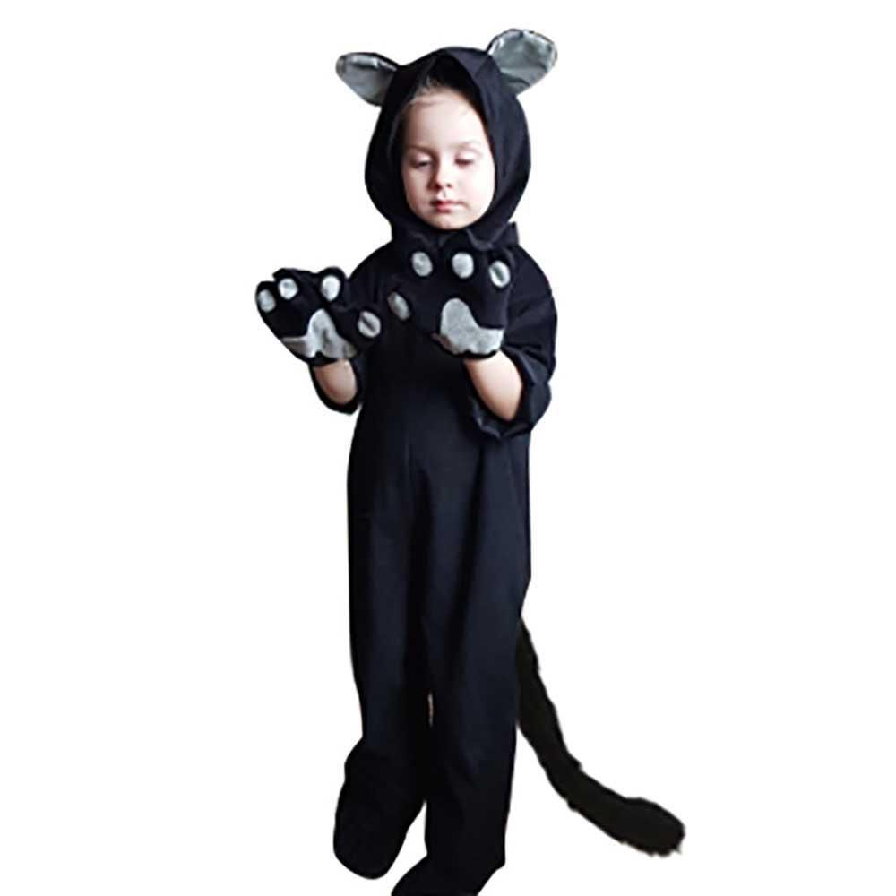 Kids Black Cat Costume Little Kitten Cosplay Costume Animal Onesie Fancy Dress Us 28 79 In 2020 Kids Black Cat Costume Black Cat Costumes Cat Costumes