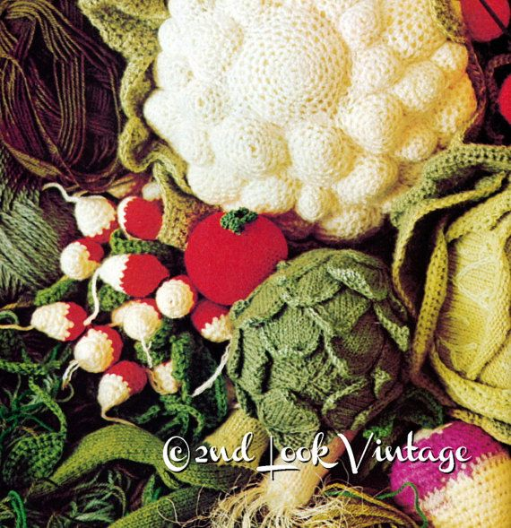 Vintage Crochet Knitting Pattern Vegetables Amigurumi 70s Digital ...
