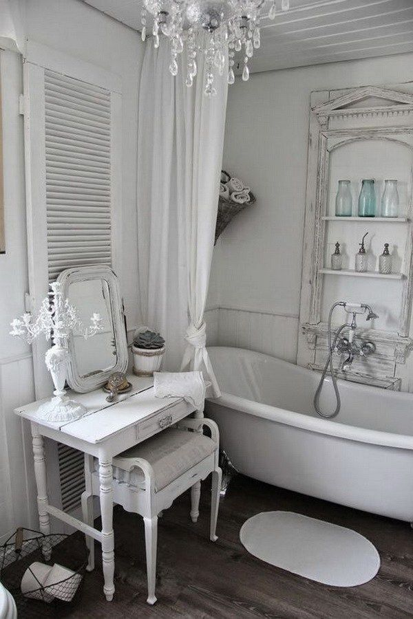 Romantic Whitewashed Shabby Chic Bathroom More łazienka