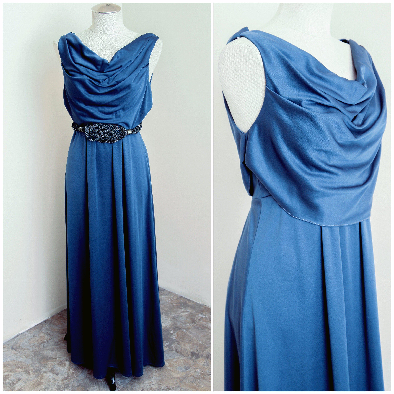 Blue Maxi Gown Cowl Neckline Sleeveless Dress Summer Etsy In 2021 Sleeveless Dress Summer Maxi Gowns Summer Dresses [ 3000 x 3000 Pixel ]