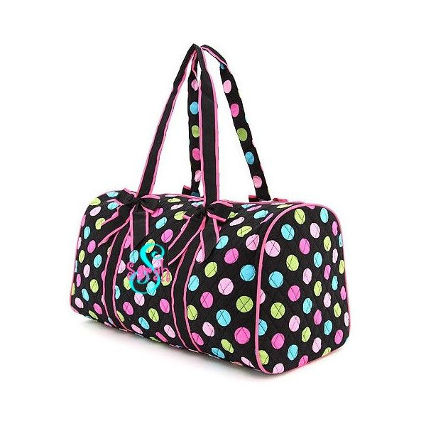 Personalized Duffel Bag - Dance Bag, or Overnight Bag-Girls Polka Dot... ($39) ❤ liked on Polyvore featuring dance