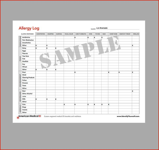 American Medical ID Free Medical Form Allergy Log Medical - school medical form