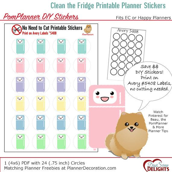 Kawaii Clean The Fridge Printable Planner Stickers Print On Avery