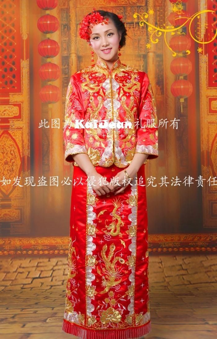 Chinese Traditional Wedding Gown Free Shipping