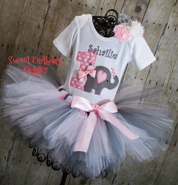 First Birthday Baby Elephant Birthday Tutu Outfit, 1st birthday tutu outfits, Jungle theme party, Zoo birthday, Pink tutu