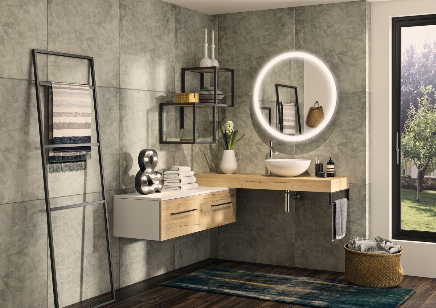 Salle de bain style industriel meuble FACTORY 1 | VM | Aménagement ...