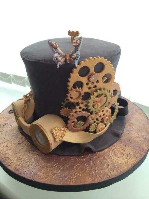 Swell Steampunk Hat Cake Cake By June26 With Images Funny Birthday Cards Online Aboleapandamsfinfo