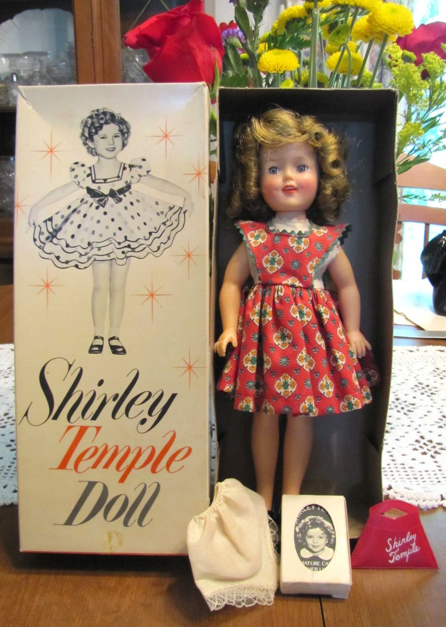 Gorgeous 12 Inch 1950 S Shirley Temple In Original Box Rare Tagged Dress Shirley Temple Vintage Dolls Old Dolls