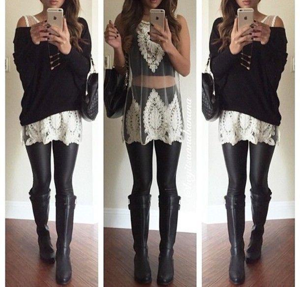 black boots outfit - Buscar con Google | Boots | Pinterest ...