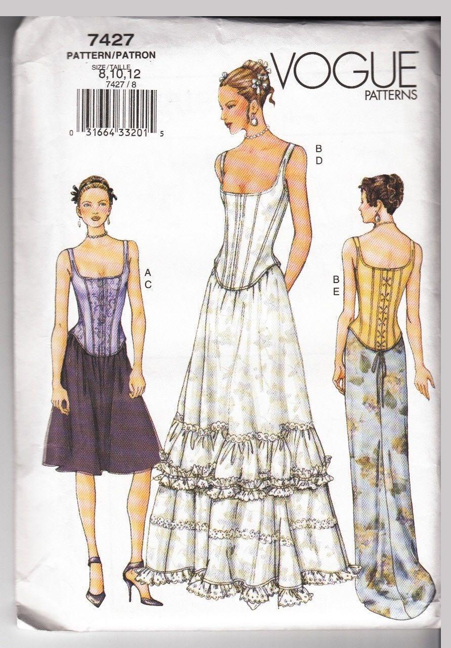 Vogue dress pattern bride evening pc corset style bodice