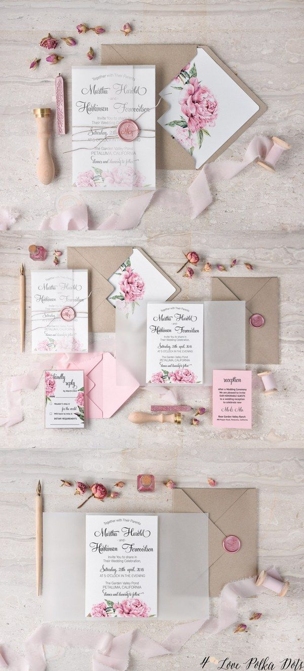 Vintage pink watercolor wedding invitations #pinkwedding (Vintage ...