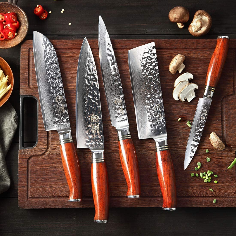 Kitchen Knife Set Professional 5 Piece Yarenh Chef Knife Set Damascus Stainless Steel Galbergia Wood Handl In 2020 Chef Knife Set Knife Set Kitchen Kitchen Knives