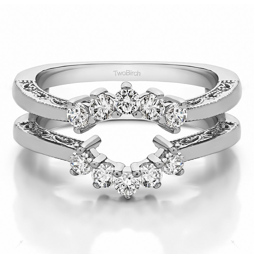 Double Shared Prong Wedding Ring Guard (0.5 Carat) New