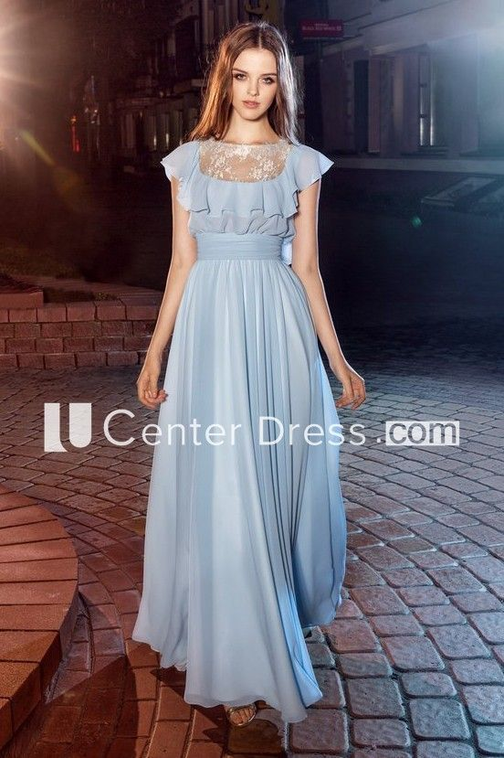 f37e993a38c A-Line Scoop-Neck Poet-Sleeve Chiffon Illusion Dress With Lace And Draping