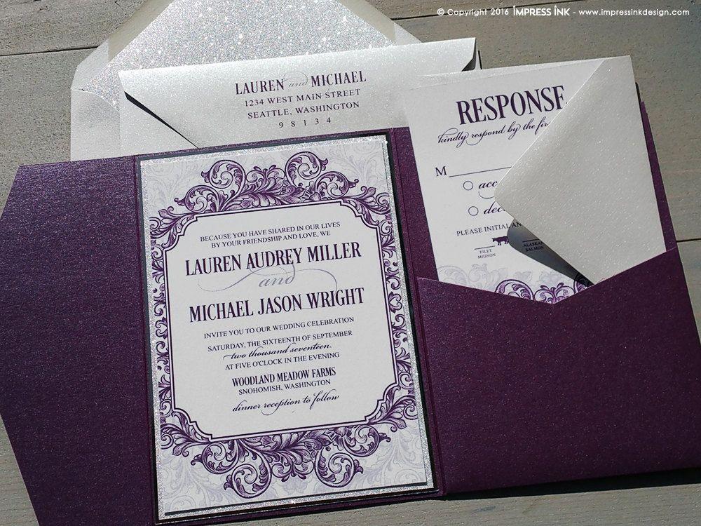 Etched Flourish Wedding Invitation Sample | Flat or Pocket Fold ...