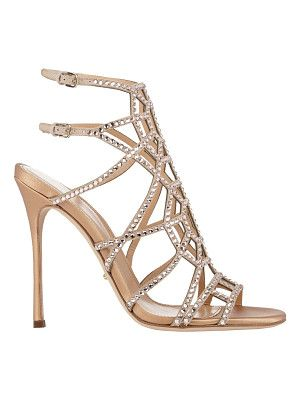 Sergio Rossi Embellished puzzle caged sandals-nude size 9