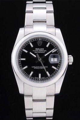 Fake Rolex Datejust Polished Silver Bezel Black Dial 7467