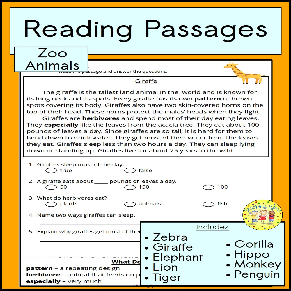 Zoo Animals Reading Passages From Teaching Tykes Reading Passages High Interest Reading Passages Teaching Tykes [ 1000 x 1000 Pixel ]