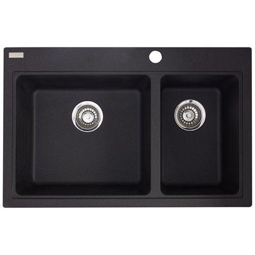 Profond évier de cuisine double moulé d\u0027un composite de granit