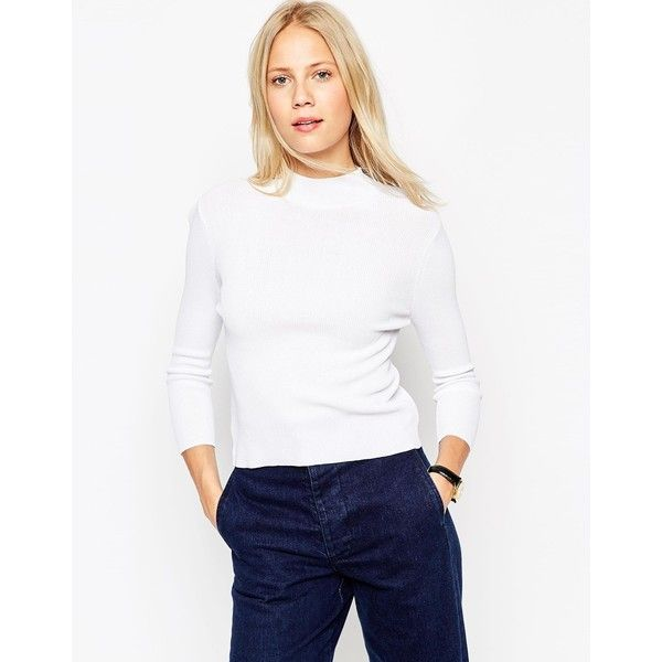 ASOS Baby Rib Jumper With Turtle Neck in Structured Knit ($28) ❤ liked on Polyvore featuring tops, sweaters, white, white top, turtle neck jumper, white turtleneck sweater, white turtleneck and turtleneck sweater