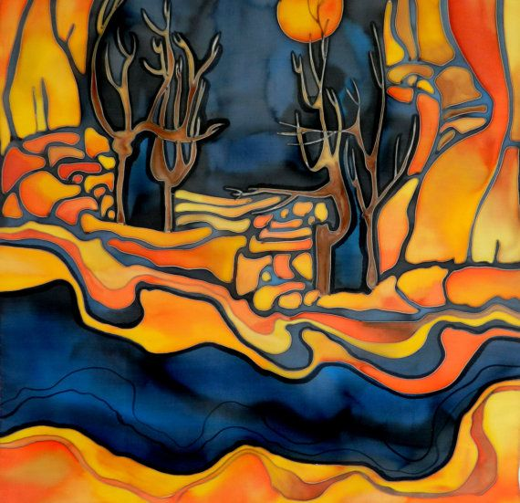 Navy Blue And Orange Scarf Abstract Trees And Mountains Hand Painted Silk Scarf Made To Order Painting Silk Painting Abstract Tree