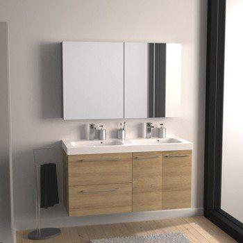 Meuble de salle de bains plus de 120, marron, Remix - meuble salle de bain pierre naturelle