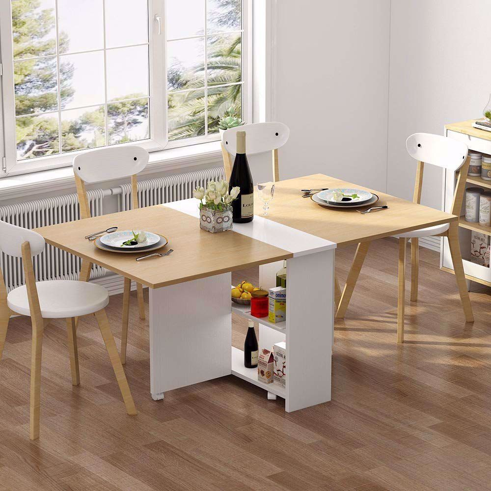 Folding Table 6 Wheel Movable Dinner Table Folding Dining Table