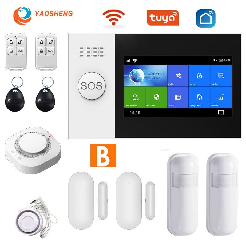 Tuya Security Alarm System For Home Apps Control With Smoke Detector Door Sensor Smart House Wired Wireless In 2020 Alarm Systems For Home Alarm System Security Alarm