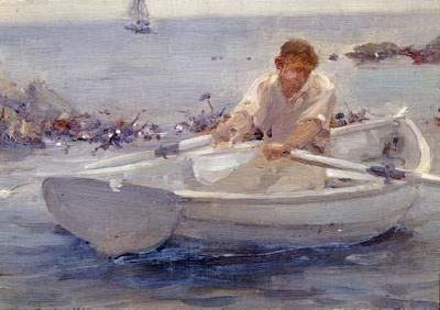 Small Row Boats | Man in a Rowing Boat - Tuke Art Print, Canvas