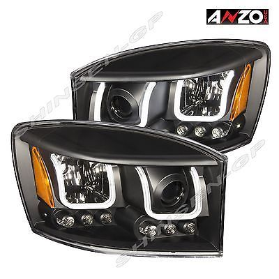 Anzo U Bar Projector Headlights Black 2006 2008 Dodge Ram