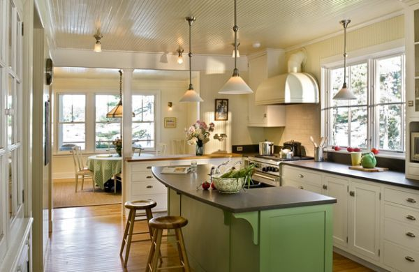 Charming Kitchen Space With Green Hues And Lowhanging Pendant - Low hanging pendant lights