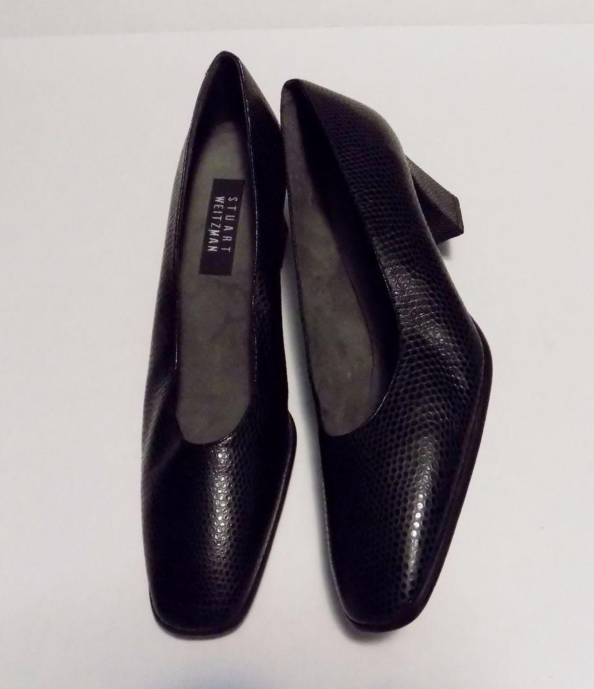 8b4085f47a00 Stuart Weitzman Pumps Black Snake Print Designer Shoes Block Heel Size 11 N   StuartWeitzman  ClassicPumps