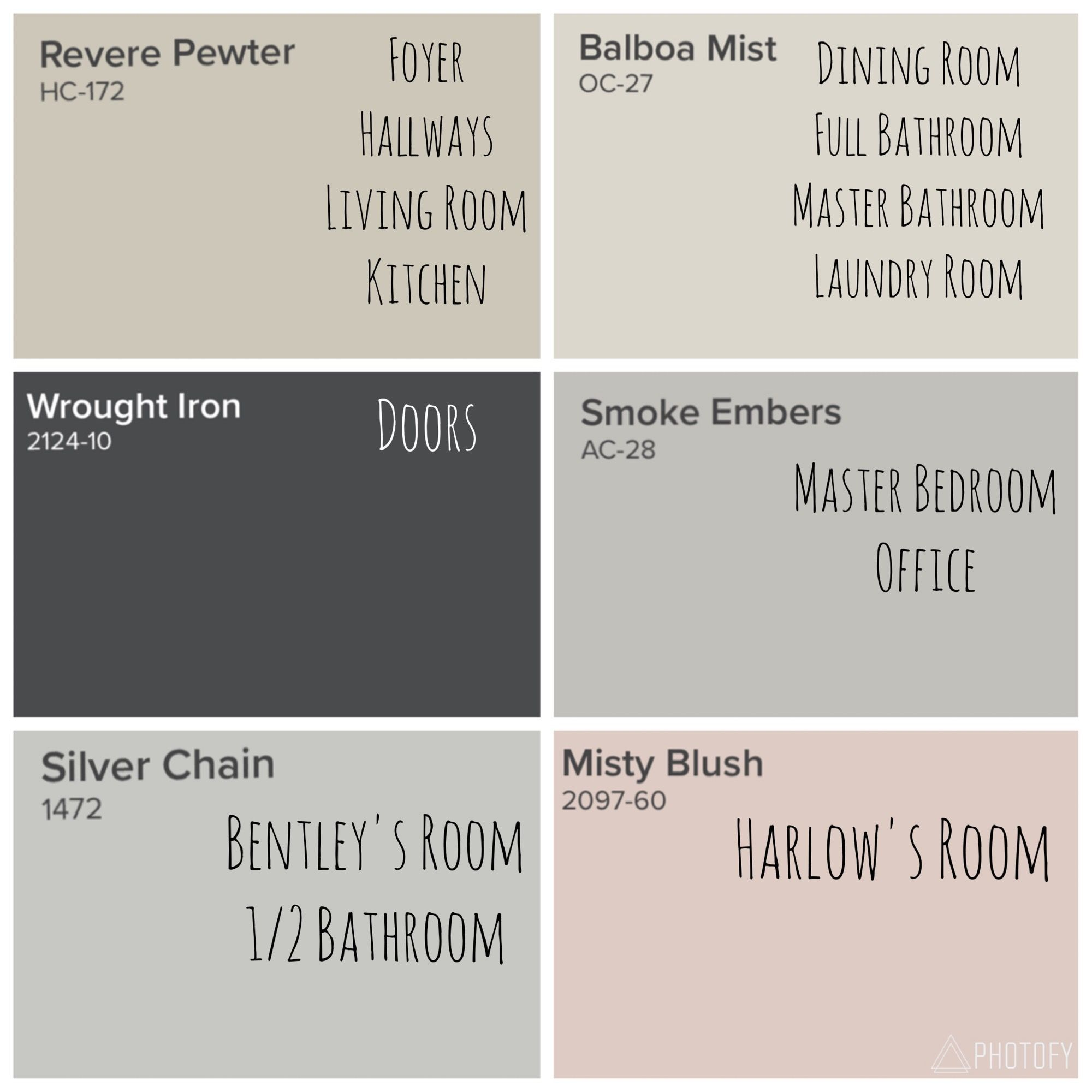 Benjamin Moore Whole House Color Scheme Revere Pewter